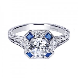 Diamond and Sapphire Engagement Ring in Morgan Hill