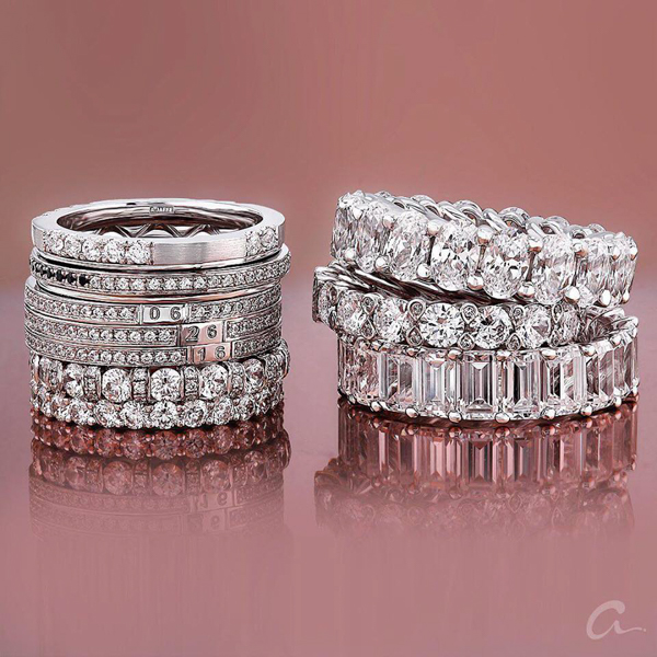 close-up view of luxurious collection of diamond wedding and anniversary eternity bands by a.jaffe in white gold or platinum