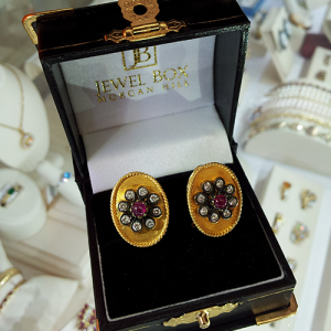 18K Yellow Gold, Ruby and Diamond, Omega-backed earrings