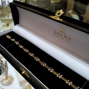 18K Yellow Gold, Ruby and Dimaond Bracelet